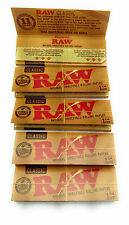 5 Packs of Raw Natural Classic 250 ROLLING PAPERS 1 &1/4 SIZE & BONUS BLUNT TUBE