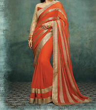 Bollywood Designer Party Wear Orange color Georgette Fabric Saree
