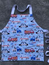 TODDLER'S APRON MACHINE WASHABLE QUALITY COTTON LINED. EMERGENCY VEHICLES