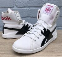Reebok Classic White/Black Patent And Pink Plaid Canvas High Tops Size 6