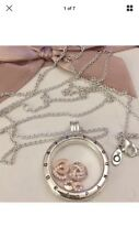 Pandora Large Floating Silver Locket Necklace With Rose Gold Petites New Boxed