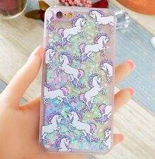 For iPhone 7 - HARD CASE COVER Flowing Waterfall UNICORN Liquid Glitter Hearts