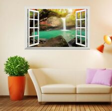3D Fake Window Waterfall Pond Removable Bedroom Wall Sticker Decal Decor 51*72cm