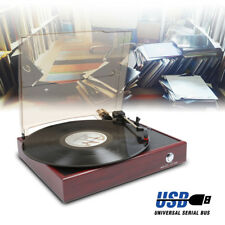 Fenton RP110 2 Speed Red Wood Vinyl LP Record Player Turntable 33 1/3 45 RPM