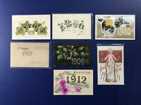 7 New Years Antique Postcards. YEAR DATES 1906-12. For Collectors. Nice w Value