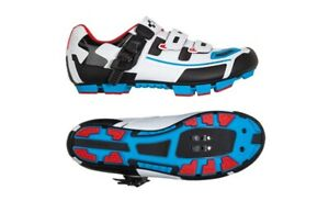 Cube MTB Pro Mountain Bike Shoes. White/Blue Teamline. Stock Clearance RRP £120