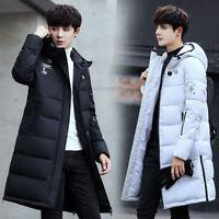 Mens Hooded Down Coat Outwear Winter Warm Jacket Mid Long Slim Fit Parka Outwear