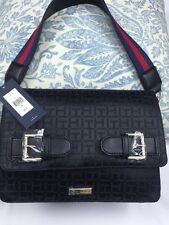 "Tommy Hilfiger handbag  8""x10"" ""Shoulder Bag 100% Authentic Logo Black NEW$98"