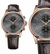 Original Hugo Boss 1513281 Jet Chronograph Mens Watch Leather Brown/ Rosé Gold