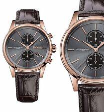 Original Hugo Boss 1513281 Jet Chronograph Herrenuhr Leder Braun/ Rosé Gold NEU!