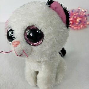"Ty Beanie Boos Muffin White Cat Kitten 6"" Plush Glitter Eyes Stocking Stuffer"