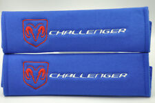 Dodge Challenger Pair of Blue Seat Belt Cover Shoulder Pad Embroidery LOOK!