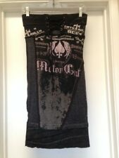 SALVAGE Distressed Strapless Mini Dress Lace Up Pink Crystals Graphic Small EUC