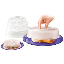 5 X Placa De Comida Microondas Plástico Ventilado Cubre Tapas Splatter Guardia Ventilación Nuevo