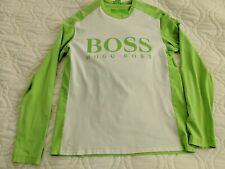 Hugo Boss Boss Green Men's Logo Tee Shirt Long Sleeves Neon Green White Medium