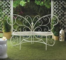 new butterfly white metal scrollwork garden patio bench seating 5 ft