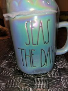 Rae Dunn Seas The Day Mermaid mug Blue Topper LL Magenta Artisan Iridescent