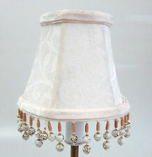 LOT OF 6 Cream Damask Chandelier Mini Lamp Shades Softback with beaded fringe