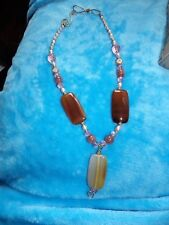 HAND CRAFTED AGATE, CULTURED PEARL & CLEAR GLASS SHADES OF BROWN NECKLACE 76-39