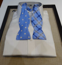 Edward Armah Reversible Silk Bow tie 2 in 1 sky blue white polka dot brown plaid