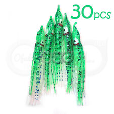 "30pcs 5"" Glow Green Squid Skirts Hoochies Fishing Soft Lure Octopus Bait seaweed"
