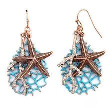 NAUTICAL SEA LIFE STAR FISH CRYSTAL CORAL DANGLE EARRINGS