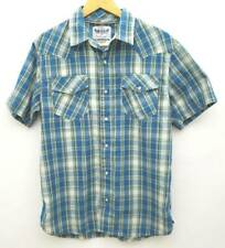 Levi Strauss & Co. Mens Button Front Shirt Blue Plaid Short Sleeve Pearl Snaps M