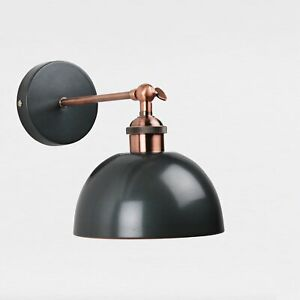 Galley Style Wall Lamp in Nickel Painted Finish with Antique Copper Detail