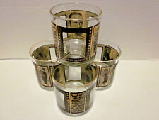 Roaring Twenties 4 Low Ball Whiskey Glasses Silent Movie Stars Barware 8-10 oz