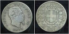 ITALIE 5 lire 1874  ARGENT  SILVER