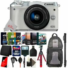 Canon EOS M6 Mirrorless Digital Camera White with 15-45mm + Essential Kit