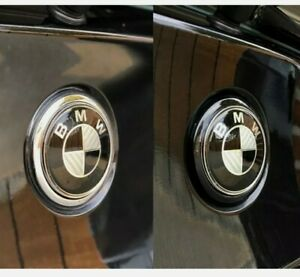 BMW E87 E81 Gloss Black Rear Badge Ring Chrome 1 series 2004-11 boot tailgate