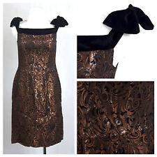 Vintage 80's Prom Dress Brocade Pencil Wigglr Velvet Bow Knee Brown UK12 EU38