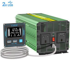 Power Inverter 2000W 4000W DC 12V to AC 240V USB LCD UK Plugs Car Camper EDECOA