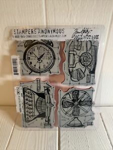 Stampers Anonymous - Tim Holtz - Cling Stamps - Vintage Clock Things Blueprint