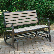 Outdoor Patio Yard Glider Loveseat Bench High Back PE Resin Wood Aluminum Frame