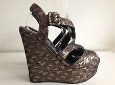 Office Black Gold Platform Wedge Open Toe Strappy Shoes Size 6