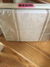 Ralph Lauren Villa Camelia Tan/Cream Stripped Queen Flat Sheet, New