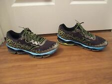 Used Worn Size 12 Mizuno Wave Prophecy 3 Shoes Anthracite Black Yellow Blue
