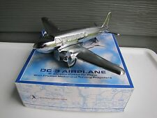 "Schylling Collector Series DC-3 Airplane 9"" Chrome Plated Tin Plane w/ Friction"