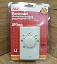 Ace (42603) Heating Single-Pole Manual Line Voltage Thermostat **NEW**