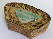 Antique Qing Chinese Carved Jade Gold Gilt Copper Cannetille Snuff or Patch Box