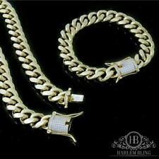 Mens Cuban Miami Link Bracelet & Chain Set 14k Gold Plated 10mm *Diamond Clasp*