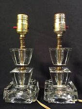 VINTAGE Mid Century Nightstand Clear Glass Block Ice Cube Table Lamp Pair Set 2