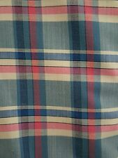 PAUL SMITH  100%  COTTON SHIRTING  BLUE WHITE PINK  CHECK  FINEST WIDTH 150CM