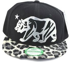 California Republic Snapback-Black Cap with Black Leopard Brim
