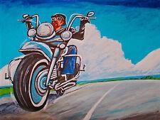 BIKER PRINT poster leather motorcycle jacket helmet landscape vintage racing