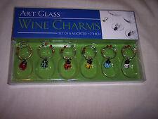 "Wine Charms,   Art Glass,    Set of 6, 2"" high"