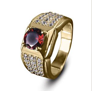 14K Solid Yellow Gold Natural Garnet & Diamond Gem Stone Men's Ring #022514