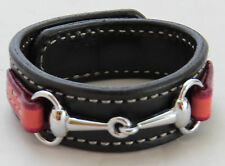 Equestrian Bit Bracelet Pink Black Leather Silver Snaffle Horse Handcrafted USA